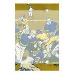El vintage se divierte el partido de fútbol, azul  papelería de diseño