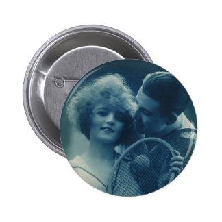 El vintage se divierte tenis, amor y romance chapa redonda de 5 cm