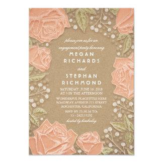 El vintage se ruboriza fiesta de compromiso floral invitación 12,7 x 17,8 cm