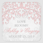 El vintage se ruboriza sello floral gris rosado de calcomanías cuadradass