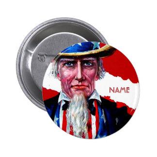 El vintage tío Sam 4 de julio añade la insignia co Chapa Redonda 5 Cm