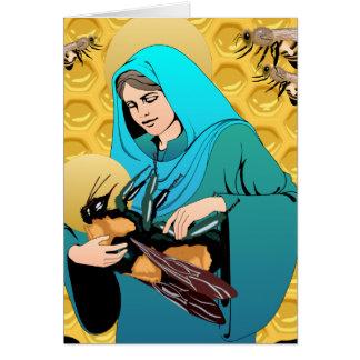 El Virgen María Madonna y manosea la abeja Tarjeton