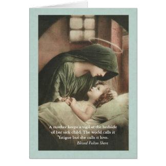 El Virgen María que conforta al niño en cama Tarjeta De Felicitación