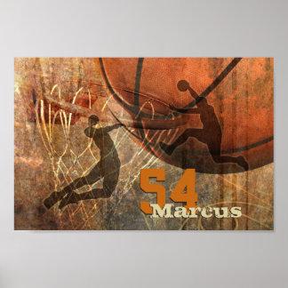 el volar a la clavada para hombre del baloncesto póster