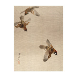 El volar de los gorriones de Watanabe Seitei Lienzo