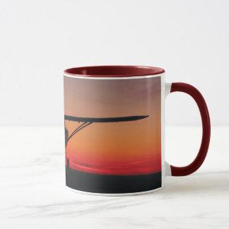 El volar en la taza de la puesta del sol