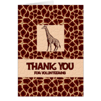 El voluntario le agradece en estampado de animales tarjeta de felicitación