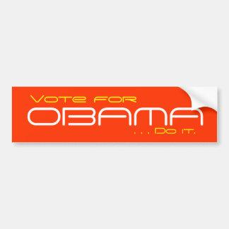 El voto para Obama, lo hace Pegatina De Parachoque