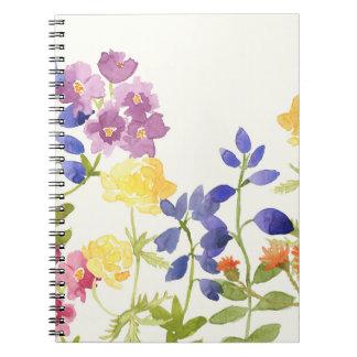 El Watercolour escocés salvaje florece el cuaderno