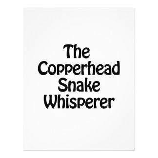 el whisperer de la serpiente del copperhead folleto 21,6 x 28 cm