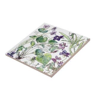 El Wildflower violeta botánico del vintage florece Azulejo