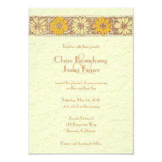 El yute rústico florece el boda invitación 12,7 x 17,8 cm
