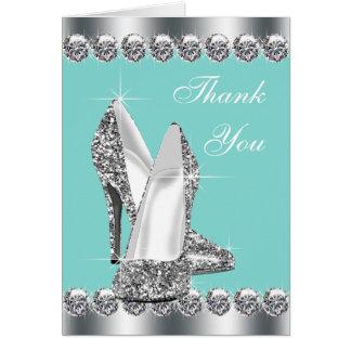 El zapato azul del tacón alto del trullo elegante tarjeta pequeña