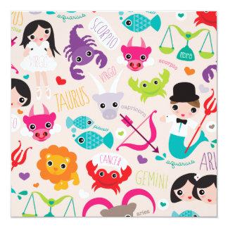 El zodiaco firma la postal de los niños invitación 13,3 cm x 13,3cm