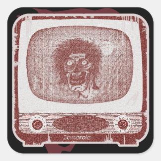 ¡el zombi! En rojo de ladrillo de TV~ Pegatina Cuadrada
