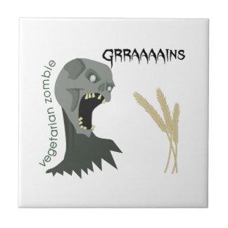 ¡El zombi vegetariano quiere Graaaains! Azulejo De Cerámica