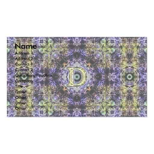 Electricidad púrpura amarilla D del fractal Plantillas De Tarjetas De Visita