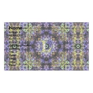 Electricidad púrpura amarilla L del fractal Tarjeta De Visita