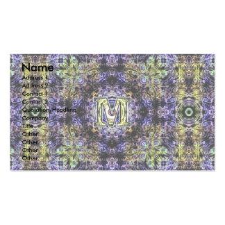 Electricidad púrpura amarilla M del fractal Tarjetas De Visita