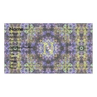 Electricidad púrpura amarilla N del fractal Tarjetas De Visita