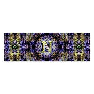 Electricidad púrpura amarilla N del fractal Tarjeta De Visita