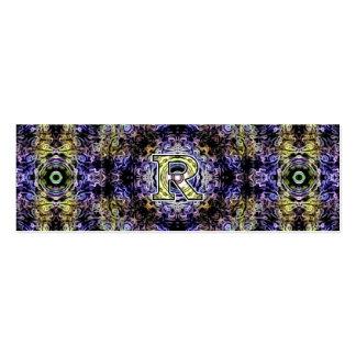 Electricidad púrpura amarilla R del fractal Tarjeta De Visita