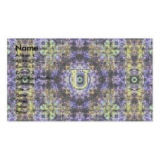 Electricidad púrpura amarilla U del fractal Tarjeta De Visita