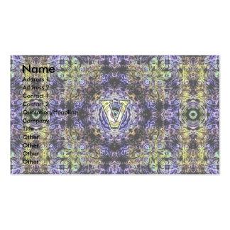 Electricidad púrpura amarilla V del fractal Tarjetas De Visita