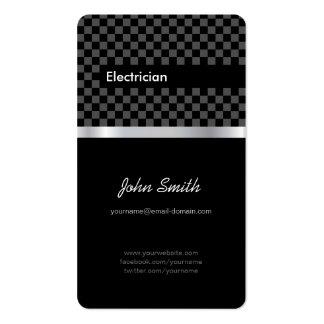 Electricista - a cuadros negro elegante tarjetas de visita