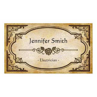 Electricista - antigüedad elegante del vintage tarjetas personales