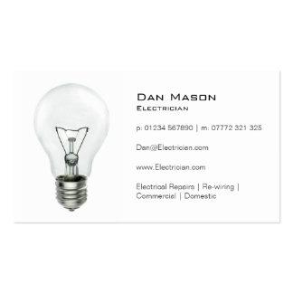Electricista blanco de la bombilla - tarjeta de plantilla de tarjeta personal