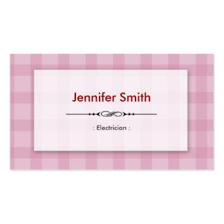 Electricista - cuadrados rosados bonitos tarjeta de visita