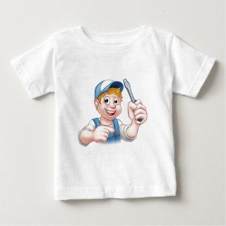 Electricista de la manitas del dibujo animado que camiseta de bebé