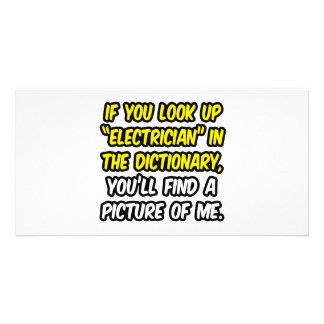 Electricista en diccionario… mi imagen tarjeta fotográfica personalizada