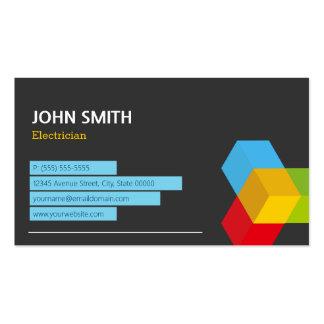 Electricista - logotipo abstracto del cubo tarjetas de visita