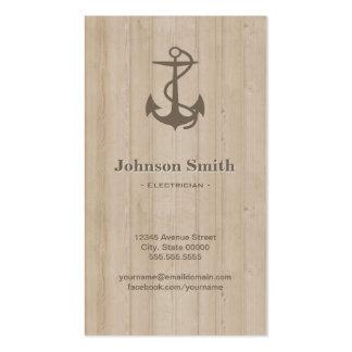 Electricista - madera náutica del ancla tarjetas de visita