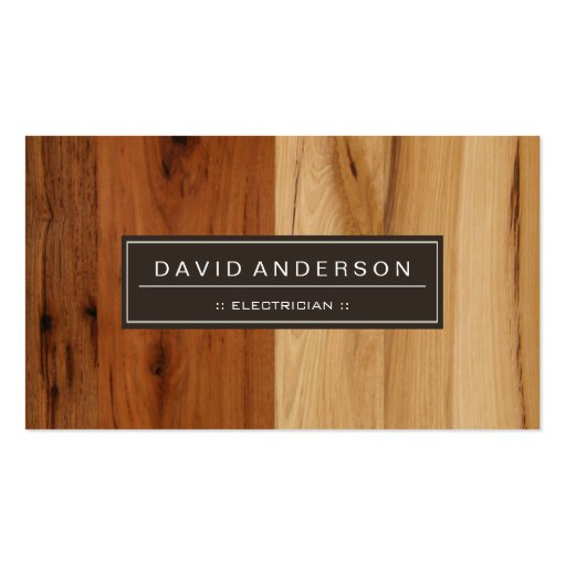 Electricista - mirada de madera del grano plantilla de tarjeta personal