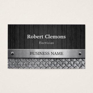 Electricista - mirada de madera y del metal tarjeta de negocios