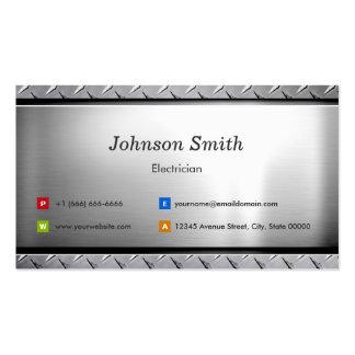 Electricista - mirada elegante del platino tarjetas de visita