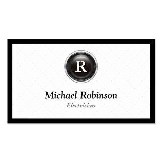 Electricista - monograma elegante simple tarjetas personales