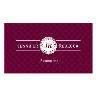 Electricista - púrpura moderna del monograma tarjetas de visita