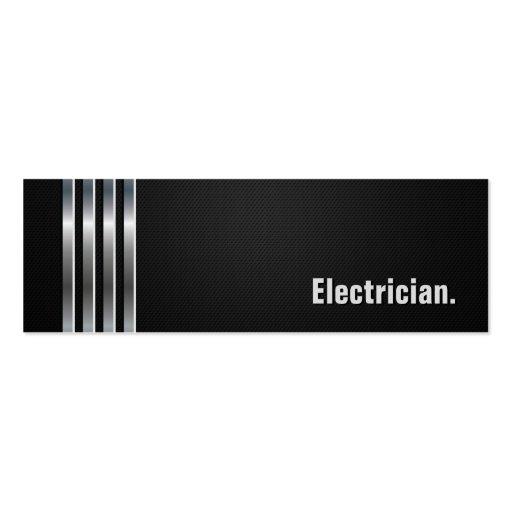 Electricista - rayas de plata negras tarjeta de visita