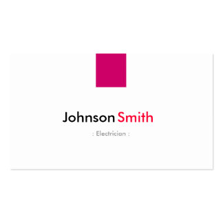 Electricista - rosa color de rosa simple tarjetas de negocios