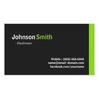 Electricista - verde minimalista moderno tarjetas de visita