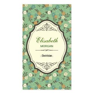 Electricista - vintage elegante floral tarjetas de visita