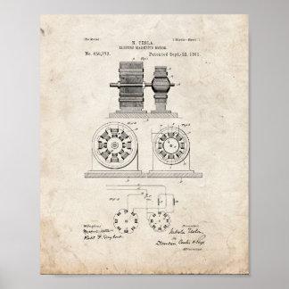 Electro patente magnética del motor de Tesla - Poster