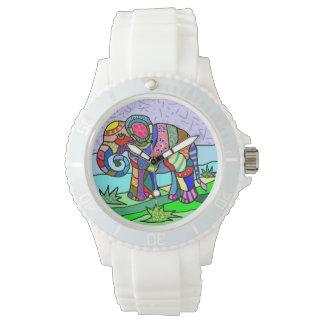 Elefante abstractcolorful ornamental lindo del reloj de pulsera
