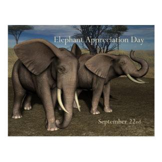 Elefante aprecio día postal 22 de septiembre