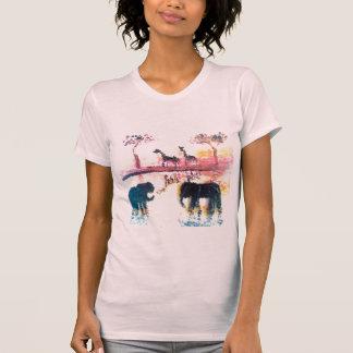 Elefante, arte de la puesta del sol del safari de camisetas