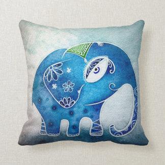 Elefante azul cojín decorativo